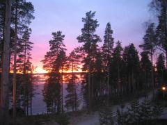 Вечерний вид на озеро Сайма